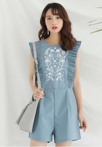 Shopsfashion white and blue Boho Embroidered Playsuit SH656AA0FSWLSG_1