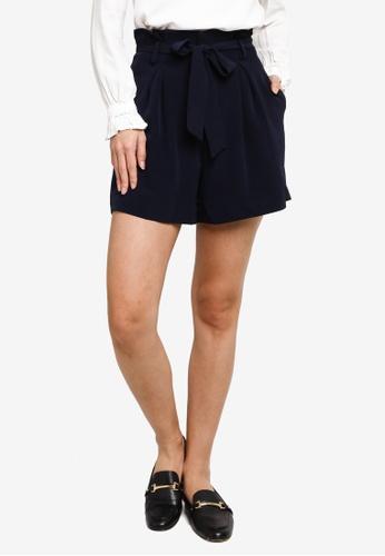 Hopeshow blue Paperbag Waist Loose Cuff Shorts E5EC5AACEF98ADGS_1