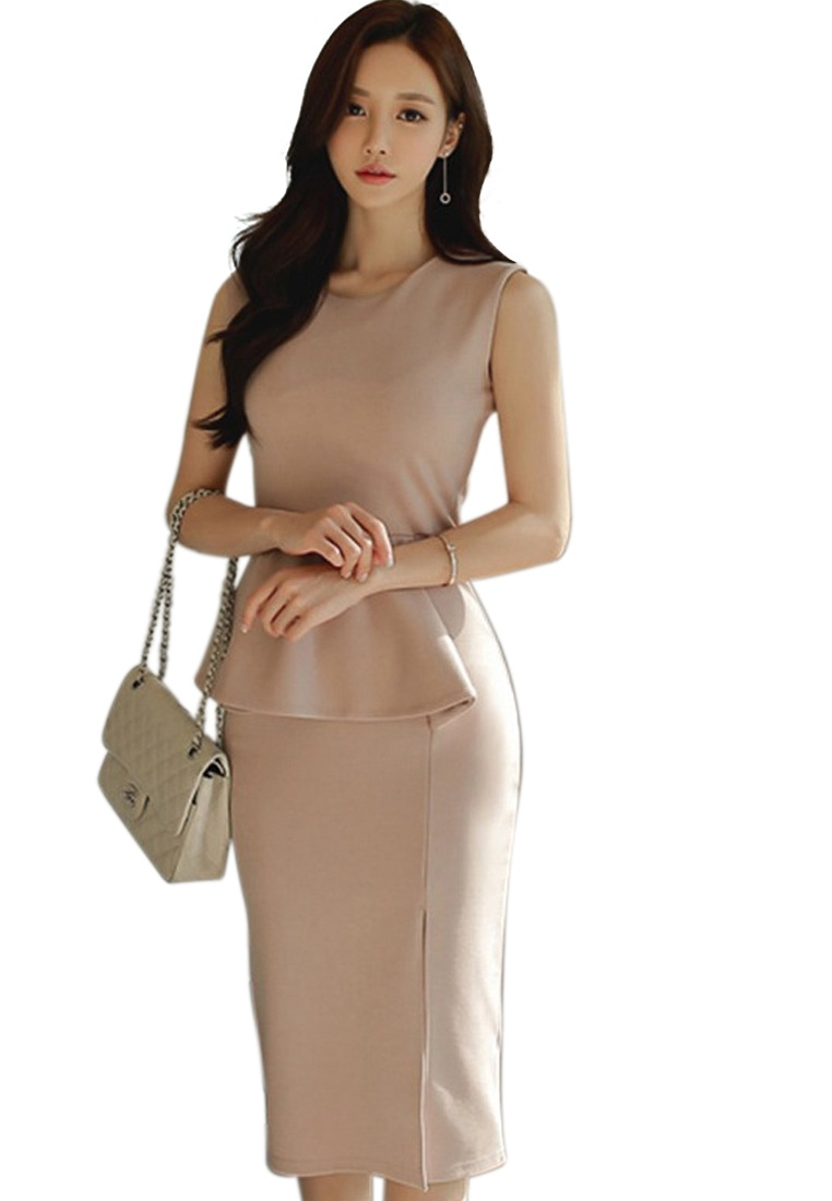 Sunnydaysweety 2018 Pink Pink New Sleeveless Neck CA062941PI Piece Dress Crew One BFpanzwxBq