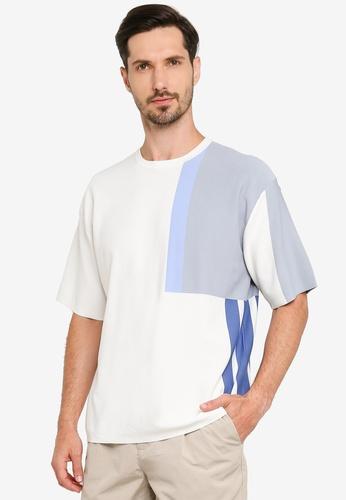 URBAN REVIVO white Trendy Contrast Tee 593D5AA1994B1EGS_1