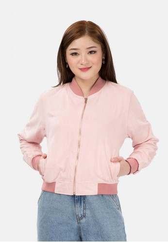 MKY Clothing pink Basic Bomber Jacket 27219AA7A09560GS_1