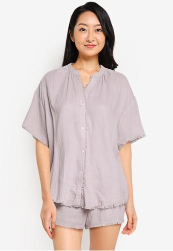 LOVE STORIES purple Mila Pyjama Shirt 5AF32AAC5AE414GS_1