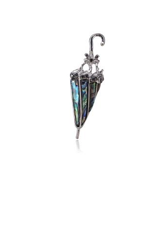 Glamorousky black Simple Personality Umbrella Blue Shell Brooch B84A5AC9CFBF76GS_1
