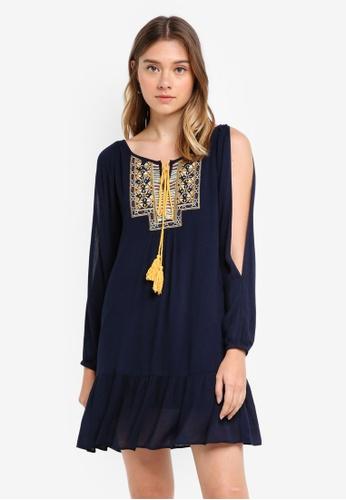 Something Borrowed navy Slit Sleeve Embroidered Dress F3A6CAA3CC1EA9GS_1