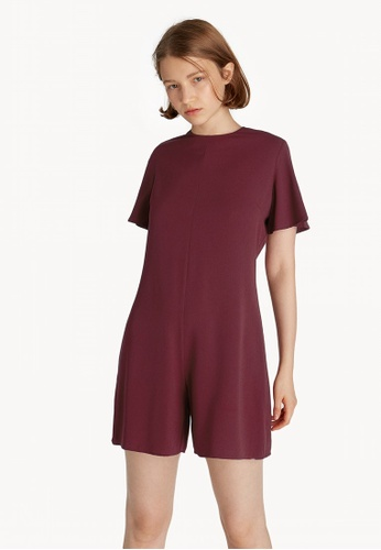 2c8bc2bf752 Buy Pomelo Mini Relaxed Romper - Maroon Online on ZALORA Singapore