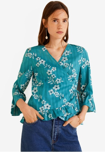 Mango blue Printed Cotton Blouse 4D030AA912798FGS_1