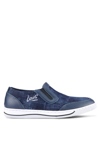 Louis Cuppers blue Denim Textured Slip Ons LO977SH0S9SMMY_1