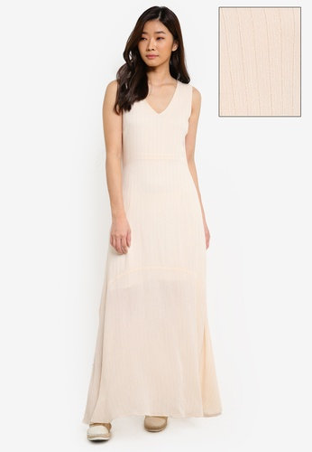 ZALORA white V Neck Stripe Maxi Dress 483D9AA33BD6B6GS_1