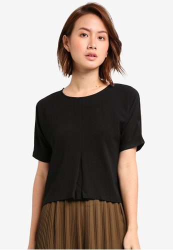 ZALORA black Top with Central Inverted Pleat 98914AACA01270GS_1