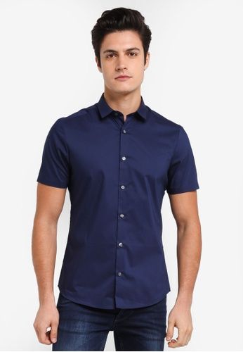 Burton Menswear London navy Short Sleeve Navy Stretch Shirt 5417CAA9828F5FGS_1