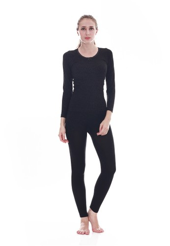 Cynthia black Thermal Underwears Slim Shaped Clothes Warm Long John Knited-Black CY646US0UHUUID_1