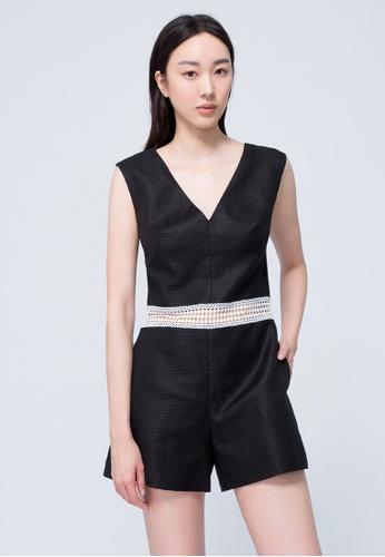 iROO black Textured Jumpsuit 61769AAE85CD25GS_1
