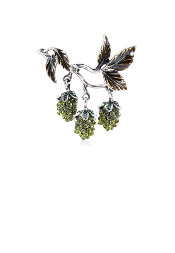 Glamorousky green Fashion Sweet Grape Brooch with Green Cubic Zirconia D680FAC145E9D8GS_1
