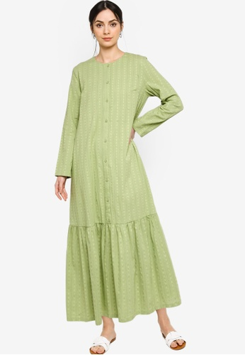 ZALIA BASICS green Basic Placket Dress 5FB96AAF618A70GS_1