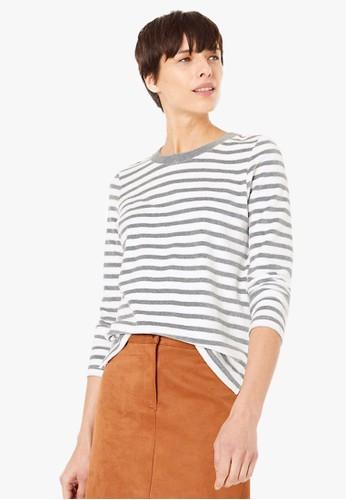 MARKS & SPENCER grey Velour Striped Sweatshirt DA5A2AA0FA1B0EGS_1
