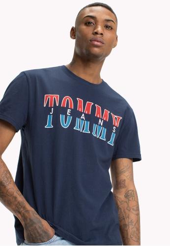 Tommy Jeans black TJM SPLIT LOGO TEE 6C4E9AA8317F9DGS_1