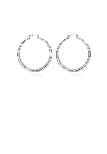 Glamorousky silver Simple Elegant Fashion Fish Veins Pattern Geometric Small Circle Earrings A5CE9AC8B6BCBFGS_1