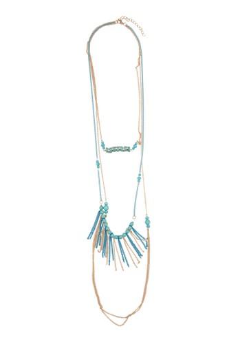 層次串珠流蘇吊墜京站 esprit項鍊, 飾品配件, 項鍊
