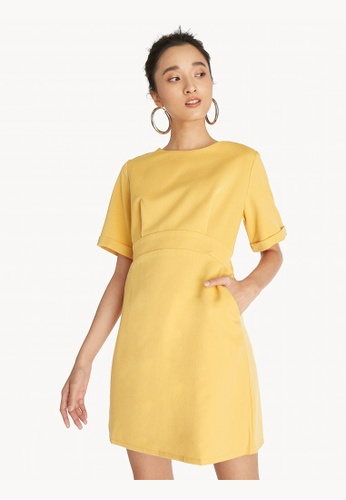 Pomelo yellow Mini Structured Elastic Waist Dress - Yellow 5CFE6AA96598EBGS_1