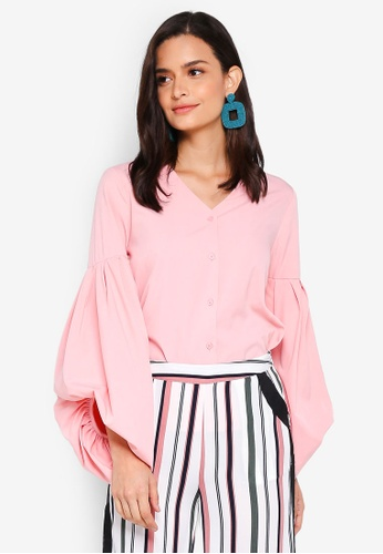 Lubna pink Hi Lo Puff Sleeve Top 84A1EAAE51D116GS_1