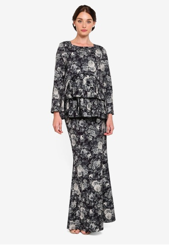 Helen Pleated Front Kurung from Rizalman for Zalora in black and Multi