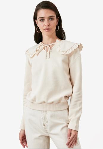 Trendyol beige Ribbon Tie Neck Collar Detail Sweatshirt AA4FFAAA93E50DGS_1