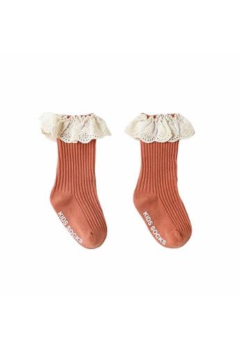 Little Kooma red Baby Girl Ruffled Lace Cuffs Long Socks Anti-slip Red B4141KAB13266CGS_1