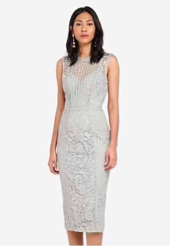 Little Mistress grey Crochet Dress A821EAABEC76D7GS_1