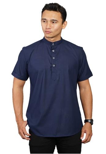 UA BOUTIQUE blue Short Sleeve Shirt Batik UASE01-041 (Dark Blue) 71A84AAD0B63B1GS_1