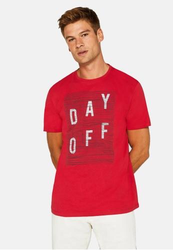 ESPRIT 紅色 Statement Print Jersey T-襯衫 8BBBBAAF603414GS_1