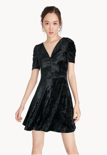 Pomelo black Mini Velvet Ruched Neck Dress A97D0AAF73893AGS_1