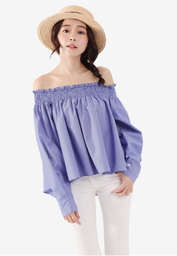 Tokichoi blue Off The Shoulder Blouse 37B99AA79F5600GS_1