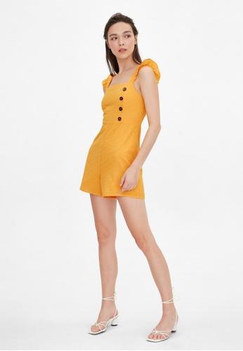 Pomelo orange Frill Shoulder Eyelet Romper - Orange FDC6AAA5210F04GS_1