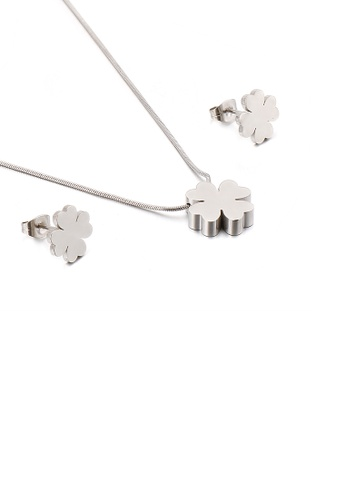 Glamorousky silver Fashion and Simple Four-leafed Clover 316L Stainless Steel Necklace and Stud Earring Set 37639ACC39A3A7GS_1