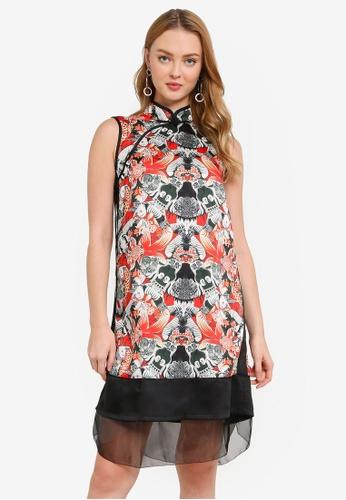 Hopeshow black Cheongsam Style Floral Mini Dress 5C138AA50DB762GS_1