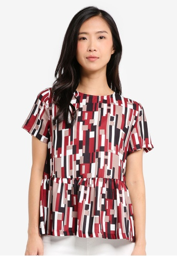 ZALORA red and multi Loose Peplum Top 2668EAA2E6B5B1GS_1