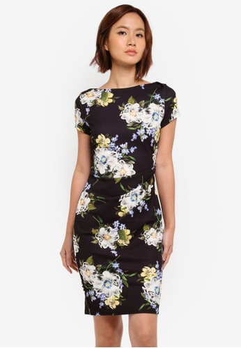 Dorothy Perkins black Blue Floral Ruched Bodycon Dress 20893AA74F9650GS_1