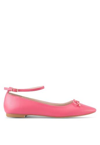 Velvet pink Ankle Strap Ballet Flats 1E885SH0D73B1DGS_1