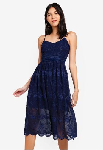 ZALORA navy Midi Dress with Embroidery 76099AABEB7C8EGS_1