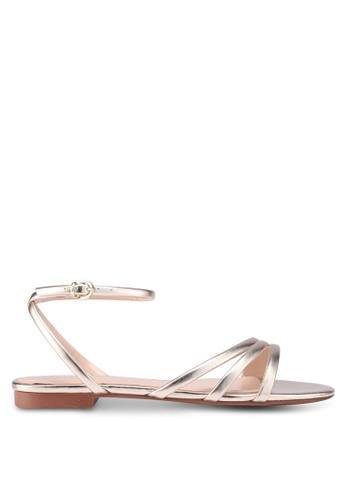 Mango gold Metallic Strap Sandals F1F54SH74B9ED9GS_1