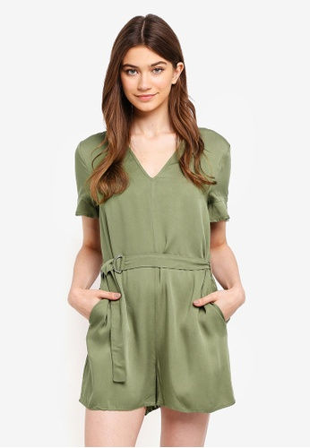 Something Borrowed green Belted Relaxed Romper DE27BAA825538EGS_1