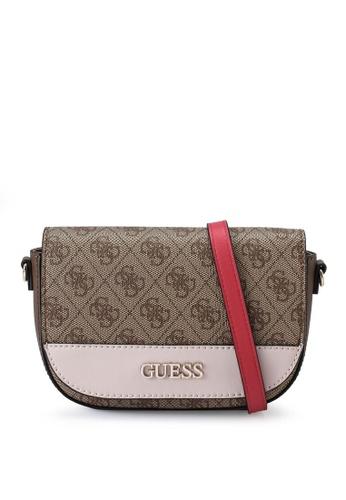 Guess brown Sosie Mini Crossbody Flap Bag BD7DCACFEF0BEFGS_1
