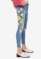 TOPSHOP blue Moto Yellow Embroidered Jamie Jeans TO412AA0S7U0MY_1