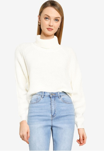 MISSGUIDED white Knit Roll Neck Batwing Crop Jumper CD45AAADF87E40GS_1