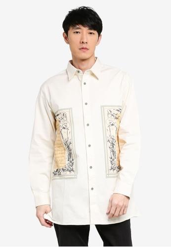 URBAN REVIVO white Casual Printed Shirt AB3EAAAB034659GS_1