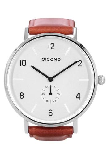 PICONO Watches white Classic metal brown quick release leather strap watch CB340AC246ECC7GS_1