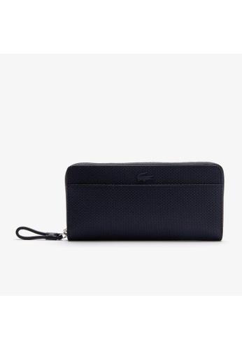 Lacoste navy Women's Chantaco Matte Pique Leather Zip Wallet-NF3219CE 2DE3CAC9828146GS_1
