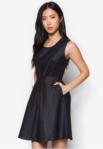 拼布收腰丹寧洋裝, zalora taiwan 時尚購物網鞋子服飾, 洋裝