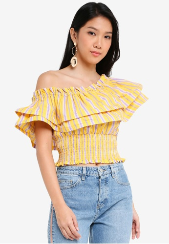 River Island yellow Yellow Stripe One Shoulder Shirred Crop Top 4F99FAA8E940ECGS_1
