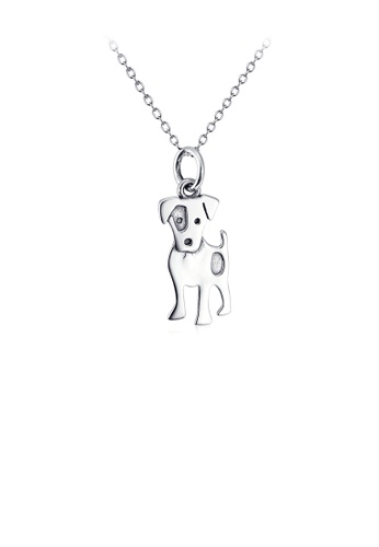 Glamorousky silver 925 Sterling Silver Simple Cute Dog Pendant with Necklace 3BFA4ACA3F182BGS_1